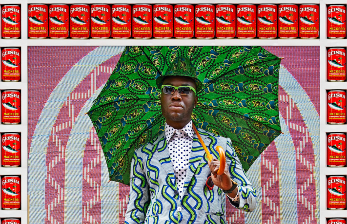 Hassan Hajjaj, Afrikan Boy, 2013, metallic Lambda print on Dibond with wood and found objects, 53.5 x 37 in. Courtesy of the ar