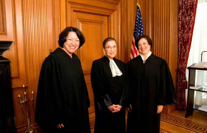 Justices Sonia Sotomayor (left) and Ruth Bader Ginsburg (center) with Justice Elena Kagan in the Justices' Conference Room prior to Justice Kagan's Investiture Ceremony.