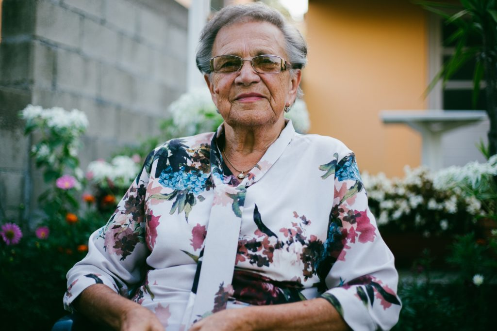 grandmother smiling in garden