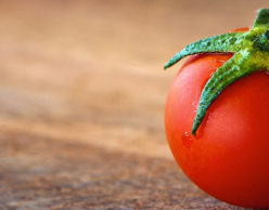 Small tomato on wooden surface.