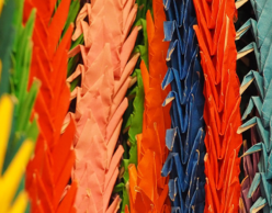 Stacks of colorful paper cranes